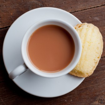 A cup of tea and a madeleine from Baking with Julia on eat. live. travel. write.
