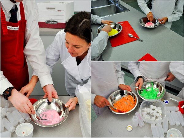 Mixing royal icing colours for decorating cookies with Adell Shneer of Art to Eat cookies