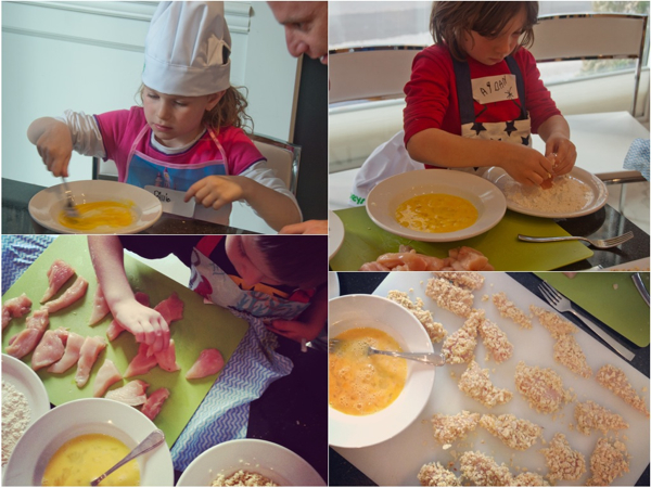Cooking with kids breading chicken