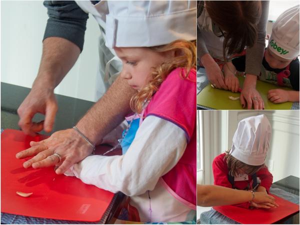 Cooking with kids crushing garlic