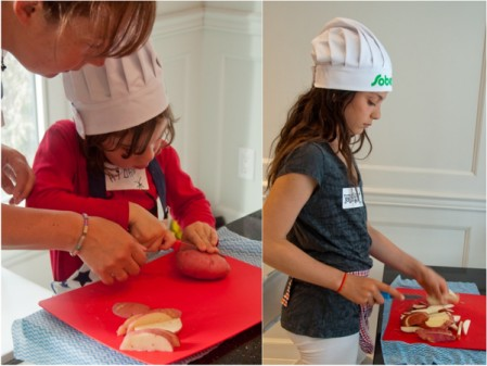 Cooking with kids cutting potatoes