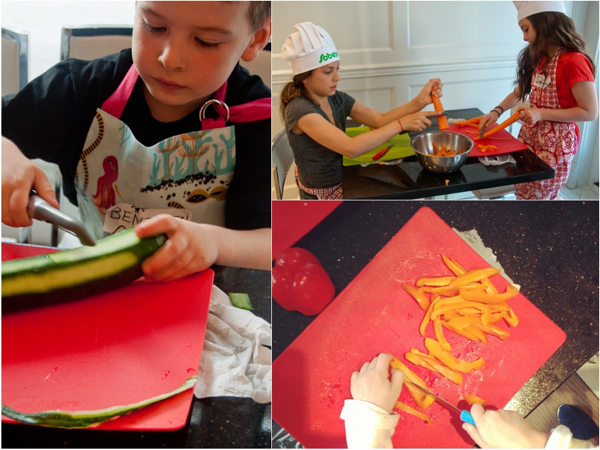 Cooking with kids making salad