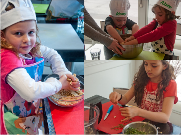 Cooking with kids preparing crackers and thyme for breading chicken