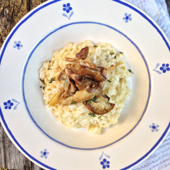 Mushroom riostto inspired by Jamie Oliver's risotto Mardi Michels eatlivetravelwrite.com