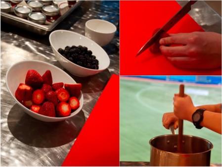 Making fruit berry compote at Renaissance Toronto Downtown Hotel by Mardi Michels eatlivetravelwrite.com