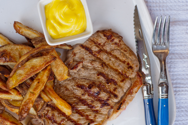 Grilled steak with oven baked home fries and homemade mayonnaise Mardi Michels eatlivetravelwrite.com