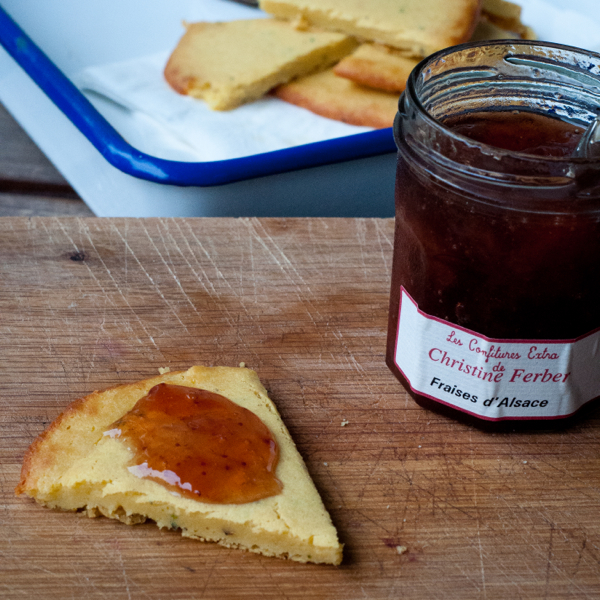 Dorie Greenspan's Socca from Around my French Table served with preserves on eatlivetravelwrite.com