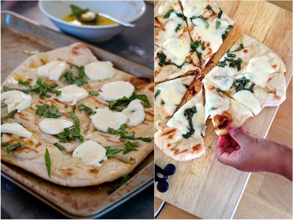 Jennifer Perillos pizza on the grill with mozarella olive oil and basil Mardi Michels eatlivetravelwrite.com