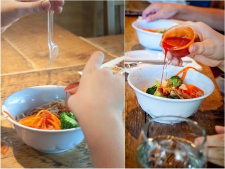 Korean bibimbap bowls with hot sauce at Seoul Food Toronto Mardi Michels eatlivetravelwrite.com