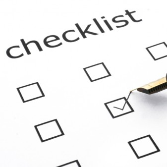 checklist with boxes to tick