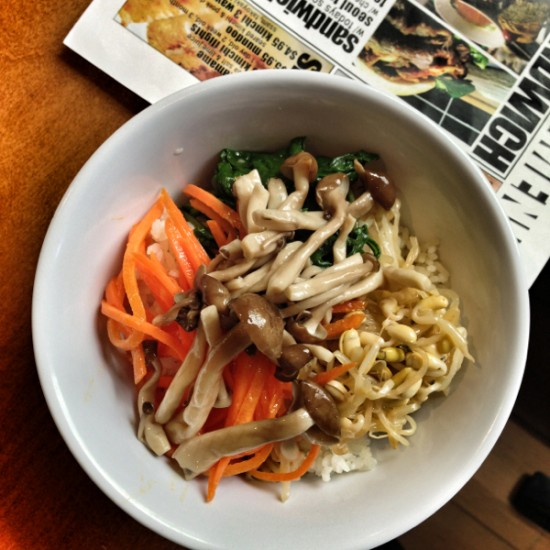 Bibimbap with mushrooms carrots spinach and bean sprouts Mardi Michels eatlivetravelwrite.com