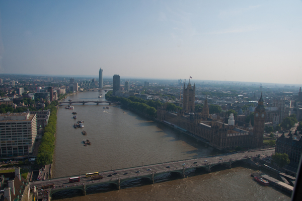 Looking down the Thames from The London Eye on eatlivetravelwrite.com