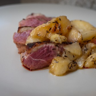 Duck breast with Fresh peaches for French Fridays with Dorie on eatlivetravelwrite.com