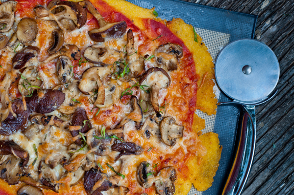 Polenta pizza with mushrooms by Mardi eatlivetravelwrite.com