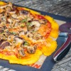 Polenta pizza with mushrooms for Mushrooms.ca by Mardi Michels