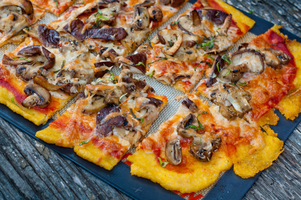 Polenta pizza with mushrooms by Mardi eatlivetravelwrite.com for mushrooms.ca