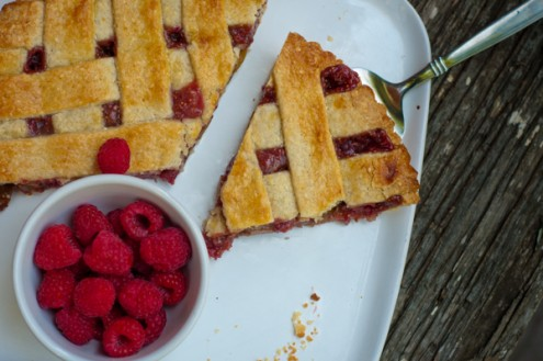 Slice of Baking with Julia raspberry and fig crostata on eatlivetravelwrite.com