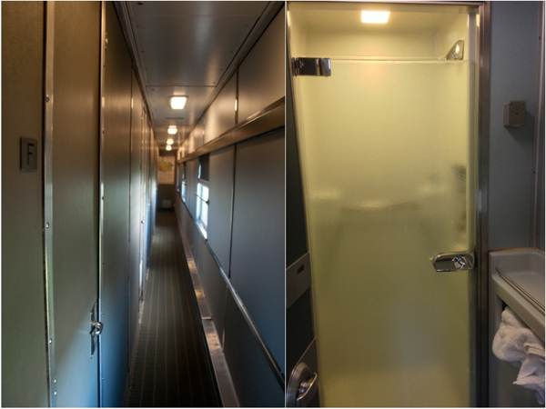 Corridor and shower room on VIA Rail Canadian on eatlivetravelwrite.com