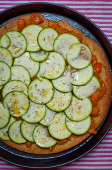 Zucchini and apricot socca tart from The French Market Cookbook on eatlivetravelwrite.com