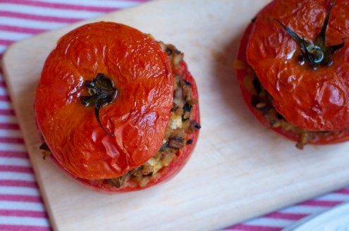 Mediterranean Mushroom-Stuffed Tomatoes on eatlivetravelwrite.com