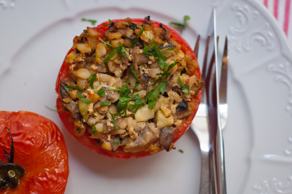 For Mushrooms GO PINK Mediterranean Mushroom-Stuffed Tomatoes on eatlivetravelwrite.com