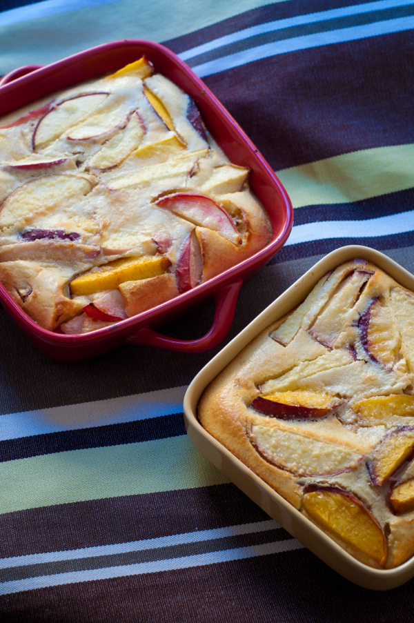 Peach and almond clafoutis from The French Market Cookbook on eatlivetravelwrite.com
