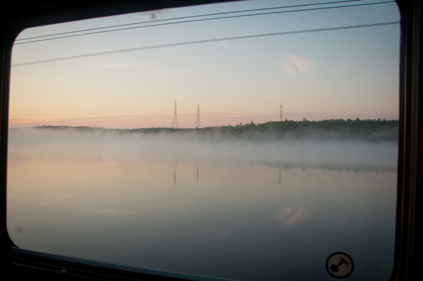 Misty morning on VIA Rail Canadian on eatlivetravelwrite.com