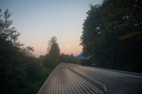 Moon setting aboard the VIA Rail Canadian on eatlivetravelwrite.com