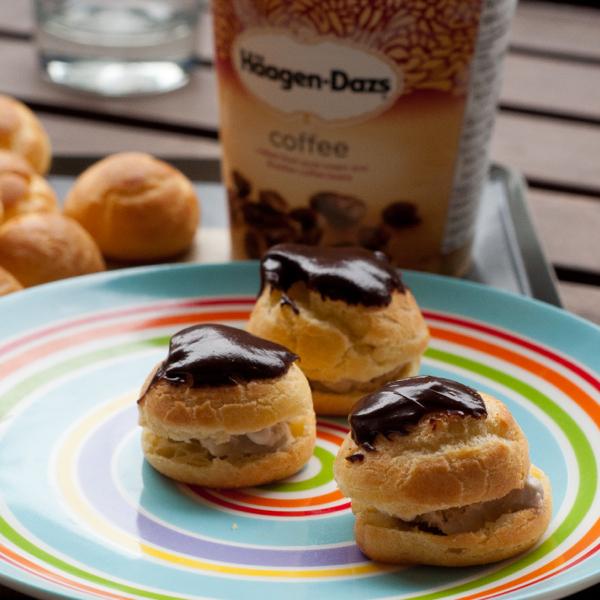 Coffee ice-cream filled profiteroles on eatlivetravelwrite.com