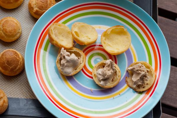 Coffee icecream inside choux pastry on eatlivetravelwrite.com