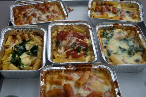 Trays of Stefano Faita's Spinach and Ricotta Lazy Lasagna on eatlivetravelwrite.com