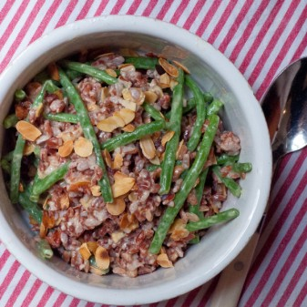 Green bean red rice and almond salad from The French Market Cookbook on eatlivetravelwrite.com