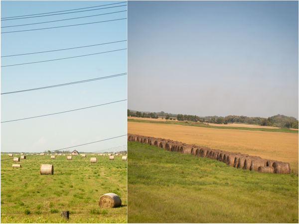 Hay bales on the Prairies on eatlivetravelwrite.com