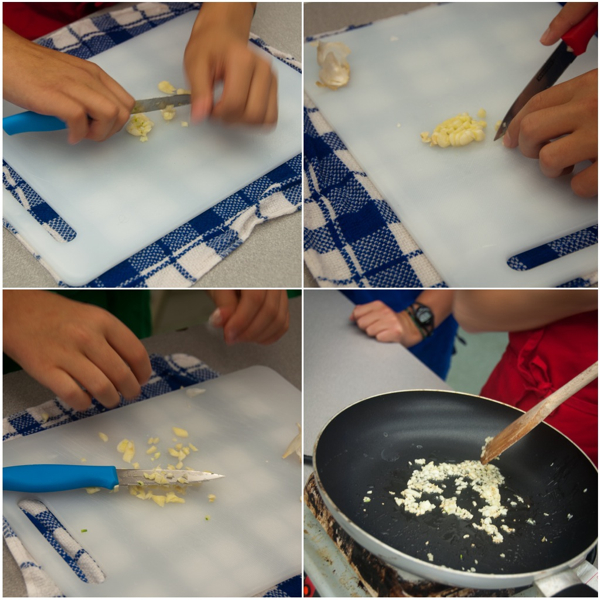 Kids chopping and frying garlic on eatlivetravelwrite.com
