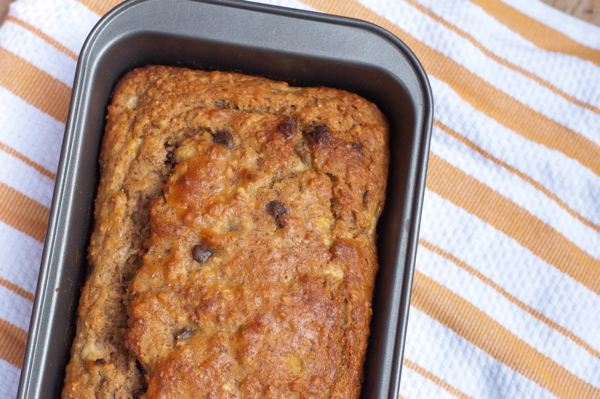Banana bread with chocolate chips on eatlivetravelwrite.com