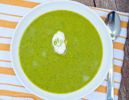 Pea soup with lettuce and mint on eatlivetravelwrite.com