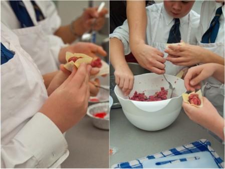 Kids assembling bison siu mai on eatlivetravelwrite.com