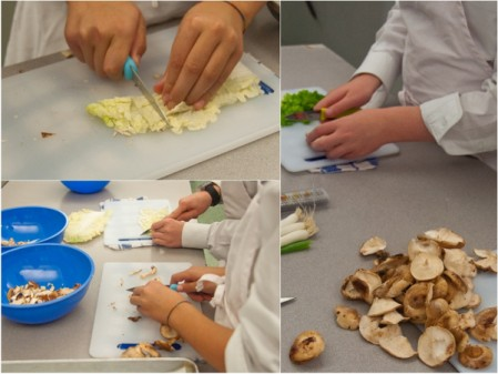 Kids chopping cabbage and mushrooms on eatlivetravelwrite.com