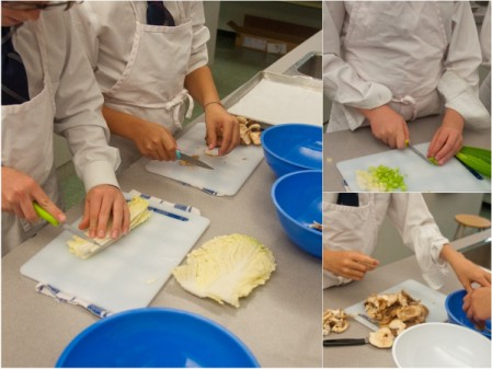Kids chopping ingredients for Asian dumpling fillings on eatlivetravelwrite.com