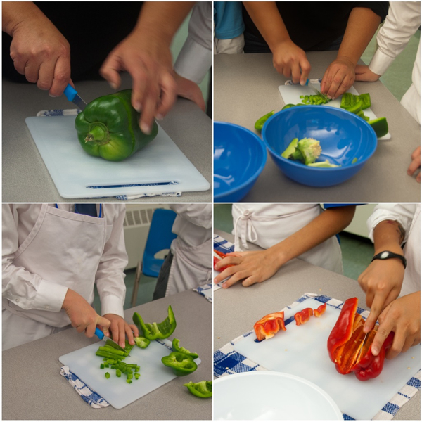 Kids chopping peppers with Rossy Earle on eatlivetravelwrite.com