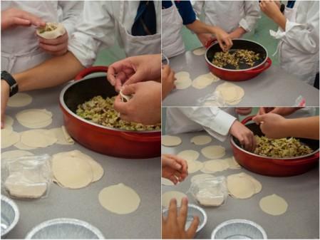 Kids filling shiitake mushroom potstickers on eatlivetravelwrite.com
