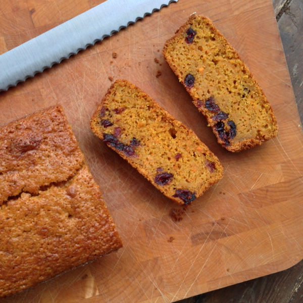 Carrot and cranberry loaf on eatlivetravelwrite.com