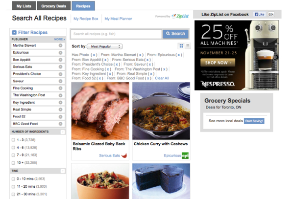 Filtered recipe sources on Ziplist eatlivetravelwrite.com