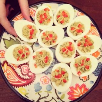 Marcella's hard boled eggs with green sauce on eatlivetravelwrite.com