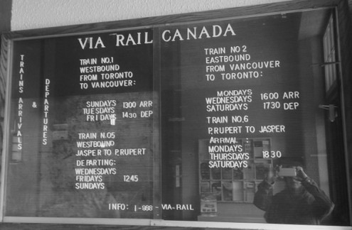 VIARail Canada arrival and departure board in Jasper on eatlivetravelwrite.com