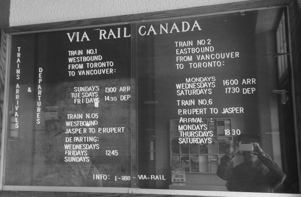 VIARail Canada arrival and departure board in Jasper on eatlivetravelwrite.com