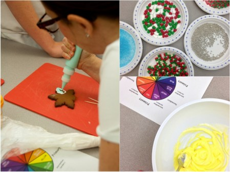Adell Shneer showing kids how to decorate holiday cookies on eatlivetravelwrite.com