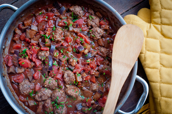 Cooking meatballs alla Norma #savewithJamie on eatlivetravelwrite.com