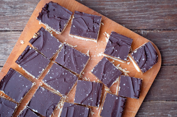Chocolate salted caramel squares on eatlivetravelwrite.com