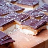 Chocolate shortbread squares with salted caramel on eatlivetravelwrite.com